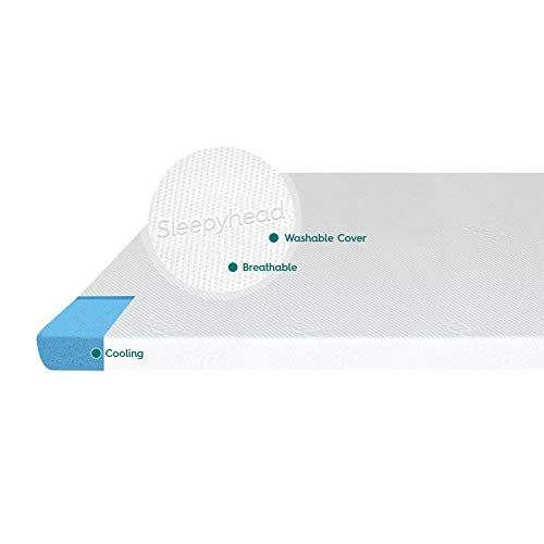 Sleepyhead 3-inch Gel-Infused Memory Foam Mattress Topper with Washable Cover - Gel Topper for Mattress - College Dorm Room Essentials - Full/Double Mattress Pad - (3' Full)