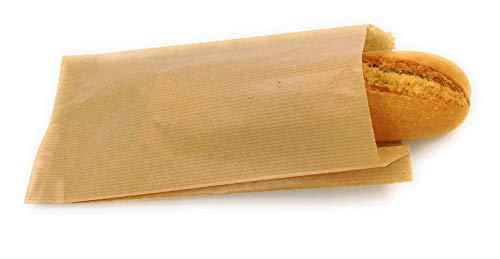 Bolsas papel kraft marrón para bocadillo o pastelería 14+7x27 cm (500 uds)