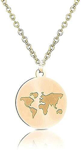 ZGYFJCH Co.,ltd Halskette Mode Edelstahl Halsketten Frauen Weltkarte Bee Mountain Anhänger Halskette Für Frauen Mädchen Reisende Geschenke Femme