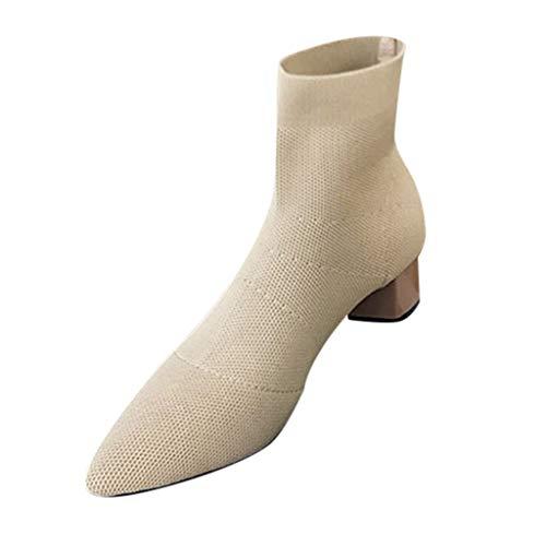 DOGZI Botas de Calcetines de Punto de tacón Grueso, Zapatos Casuales de Tubo Corto Botines de Mujer Botas de Combate de Color Liso Botas de Bloque Puntiagudo