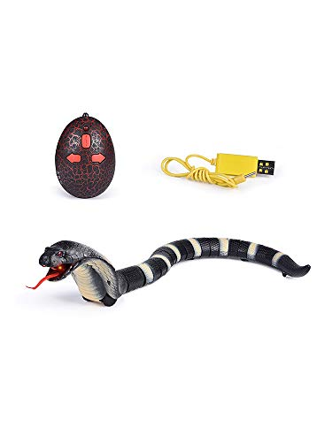 Giveme5 RC Snake Toy, 17' Detachable Remote Control Snake Toy Rechargeable RC Snake Realistic Cobra Toy for Kids Birthday Party Gift Play (Black)