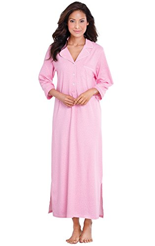 PajamaGram Womens Nightgown So Soft - Long Nightgowns for Women, Pink, M, 8-10
