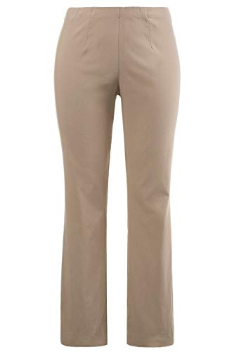 Ulla Popken Damen große Größen bis 68, Hose, Businesshose, Stoffhose, Bengalin-Hose, sehr elastisch, knitterarm Mattes beige 68 615444 16-68