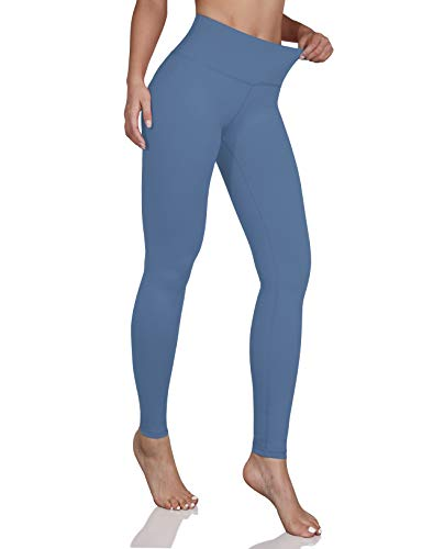 ODODOS Women's Mid Waisted Yoga Pants with Pocket, Full-Length Yoga Leggings Workout Pants with Pockets, Dream Blue, Large