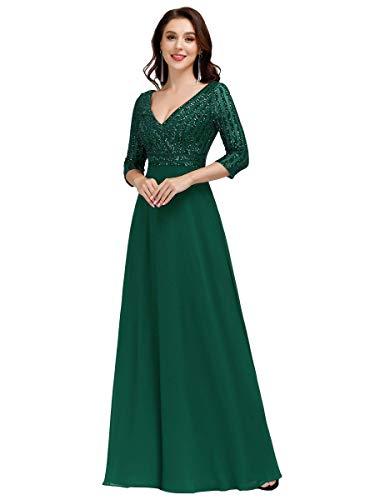 Ever-Pretty Abito da Cerimonia Elegante Manica Lunga Scollo a V con Paillettes Linea ad A Chiffon Donna Verde Scuro 36