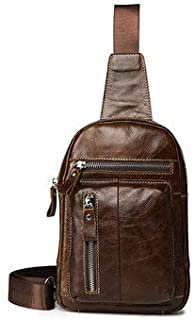 Men's Bags Crossbody Bags - Men Chest Bag Retro Zipper Pockets Shoulder Crossbody Bag - Coffee -