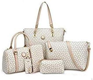 6 Pieces Set Women Handbag Fashion Tote Crossbody Bag Ladies Shoulder Messenger Bag for women K655-white