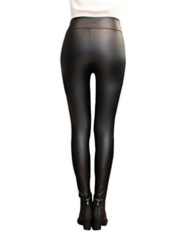 Pantalones de las polainas del cuero de imitación de la PU de las mujeres elásticas Pantalones delgados de la rebeca de la cintura alta atractiva caliente