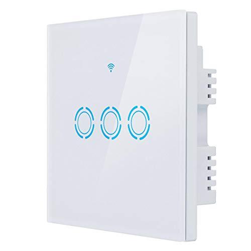 AC 90V-250V Panel de Interruptor táctil de Vidrio de zócalo WiFi WiFi DIRIGIÓ El Interruptor Suelto Funciona con Alexa Google (Color : US Plug, Size : #2)
