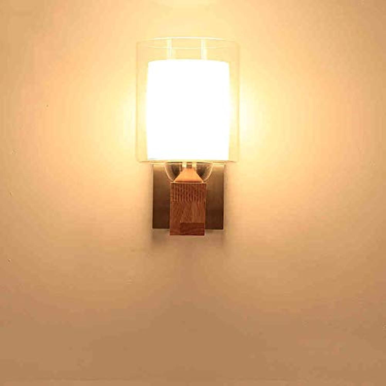 Thai Nordic Holz Antike Nachttischlampe Schlafzimmer Japanischen Stil Glas Wandleuchte Wohnzimmer Wand Dekorative Applique (Farbe  Single Head)