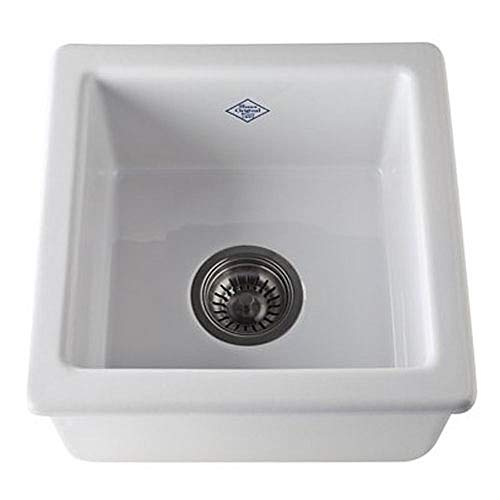 Rohl RC1515WH FIRECLAY KITCHEN SINKS, 15-Inch by 15-Inch by 7-17/32-Inch, White