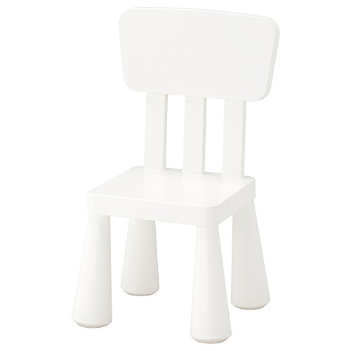 Ikea Mammut - Chair for children with high back, in plastic, suitable for indoor and outdoor use in white