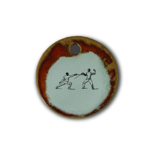 "Schöner Keramik-Anhänger ""Fechten"" in rot marmoriert; Schmuck Kette Kettenanhänger Geschenk Kunsthandwerk Keramik rund Talisman Amulett Mann"