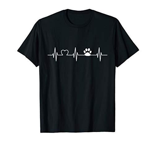 Herzschlag Pfote Hundepfote Frauchen Herrchen Outfit T-Shirt