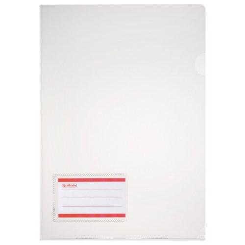 Herlitz 10913804 Aktenhülle A4 glasklar mit Etikett, PP, 0,180 mm transparent