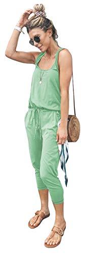 Longwu Mujer Casual Suelto Sin Mangas Mono Cordón de Cintura Mamelucos en General con Bolsillos