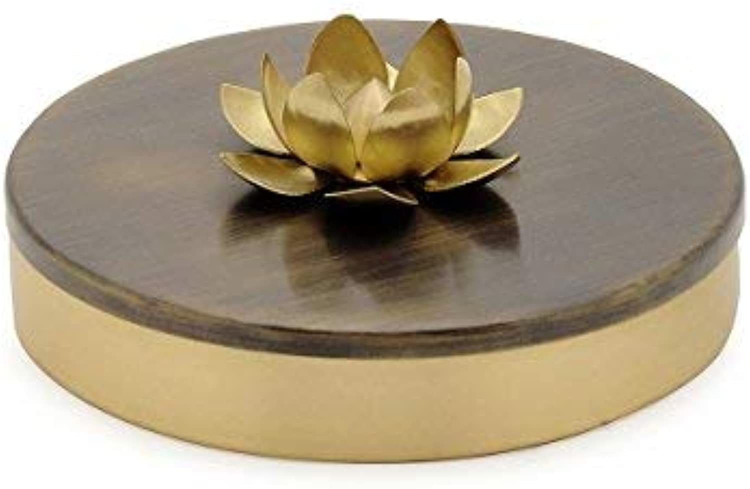 Samagridan - Handcrafted Brass Spice Organizer with Lotus, Spice Condiments Container, Multi-purpose Utility, Perfect House Warming Item & Bridal