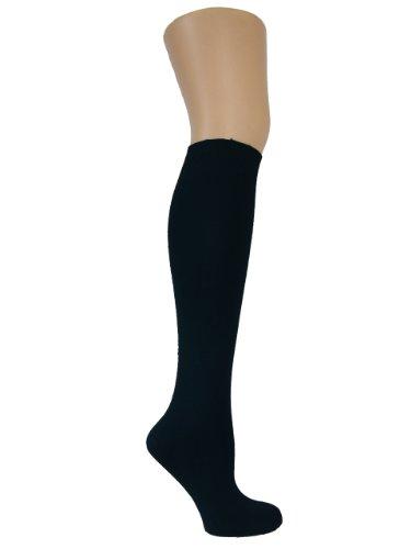 Chapini®, kniehohe Socken für Damen & Mädchen, aus weicher Baumwolle, einfarbig, Größe: 37 - 42 Gr. Einheitsgröße, schwarz