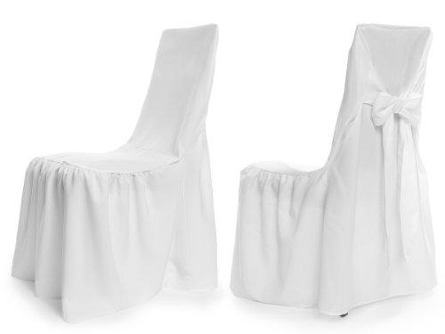TexDeko Universal Stuhlhusse - Modell Wien - Weiß, Stuhlbezug Premium pflegeleicht und wiederverwendbar