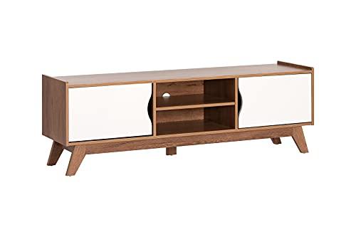 Myoshome - Mueble TV Salon Mesa para TV Color Roble Oscuro y Blanco 150 x 40 x 50 cm