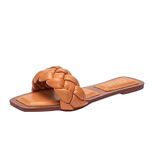 Zapatillas de mujer Playa Cuadradas Deslizadores de punta abierta Planos Primavera Verano Al aire libre Secado rápido Natación Casa Tobogán para el hogar Zapatos de jardín