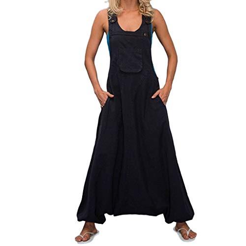 Frashing Plus Size Damen U-Ausschnitt Ärmellos Rückenfreie Seitentaschen Baggy Long Jumpsuits Solide Loose Casual Jumpsuits Regular Fit Jumpsuits