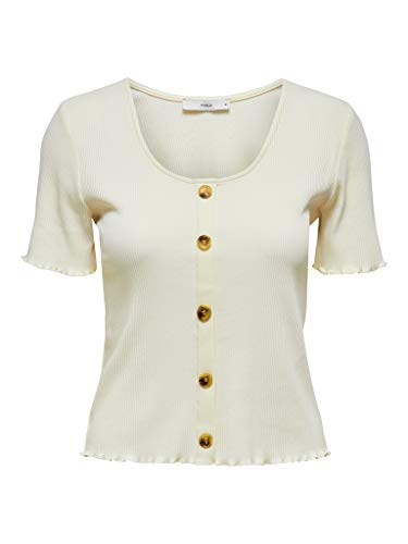 ONLY Womens ONLJUDITH Life S/S Button TOP JRS NOOS Blouse, Eggnog, S