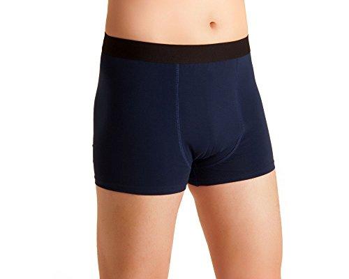 Herren Inkontinenz-Shorts, waschbare Inkontinenz-Unterhose Männer, blau-schwarz, Inkontinenzhose mit doppelter Saugeinlage, für Tagesinkontinenz geeignet, ActivePro Men Super (L)