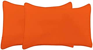 "bedart Luxurious Soft Cotton Fabric Pillow Covert Cases Set of 2 Pieces, 400 TC, Size – 17""x27"" Inches (Orange, Solid)"