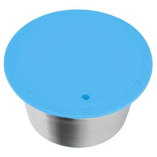 Resuable Kaffeekapsel Kapsel Tasse Edelstahl Kapsel für Dolce Gusto Silikon Kaffeefilter mit Pulverabdeckung für Kaffeeliebhaber Kaffeemaschine Versorgung(blue)