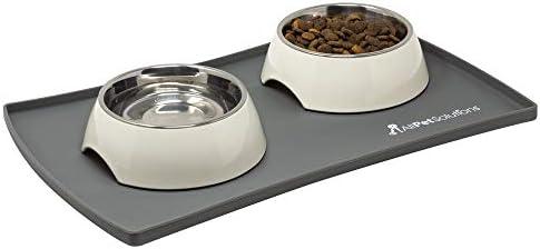 AllPetSolutions Hond Puppy Kat Voedselkom Siliconen Mat Niet Slip Wasbare Placemat Medium 60 x 40 x 15cm Grijs M