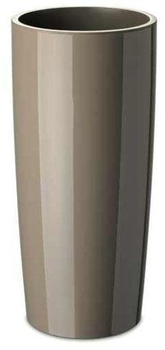 Floralo Teramo hoch Übertopf 25cm Durchmesser x 52cm hoch taupe, hochglänzend, mit herausnehmbarem Topfeinsatz, hellbraun