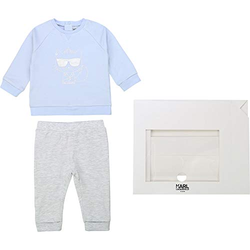 Ensemble sweat pantalon KARL LAGERFELD KIDS BEBE COUCHE GRIS CIEL 18MOIS