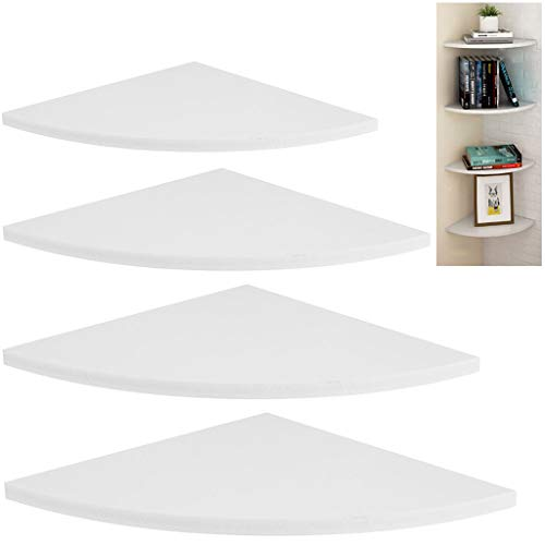 Evron Wall Mount Corner Shelf,Easy to Install Metal Front Floating Corner Shelf with Self-Adhesive Tapes White Wood Striped with Wire Pass Set of 2
