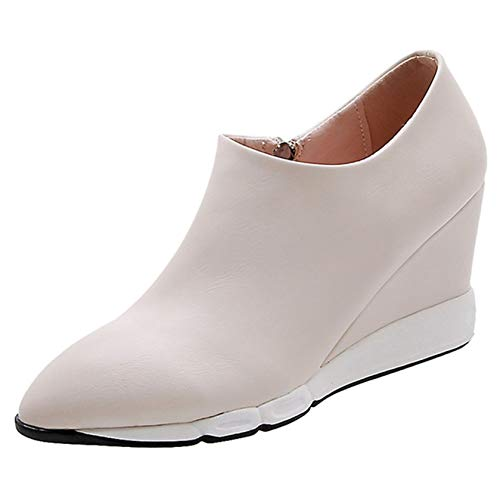 Wedge Shoes for Women Spring Pointed Toe Anti-Slip Slip-On Shoes Simple Style Low-Top Height Increase Ladies Casual Shoes Ivory