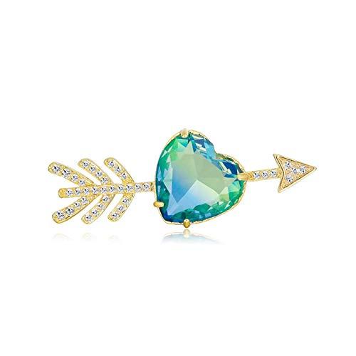 QYTSTORE Rhinestone Bumping Forma de corazón Broche Broche, Tamaño: 4.2 * 1,6 cm, Broche de Oro pequeño para Mujeres y Parejas de Damas Lavalier Broche Elegante y romántico (Color : Green)