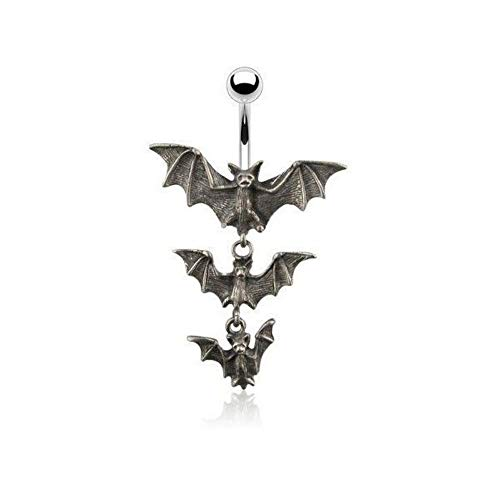 Inspiration Dezigns 14G Gothic Tri-Vampire Bats Dangle Navel Ring