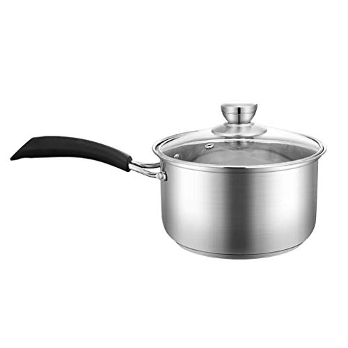 Saucepans,Milk Pans,Sauce Pan with Glass Lid, Stainless Steel, Cooking Pot (Size : 17.2 * 10.4cm) KaiKai (Size : 17.2 * 10.4cm)