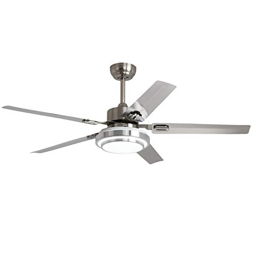 Ceiling Fan with Light and Remote - 52 Inch Brushed Nickel Stainless Steel Quiet Reversible Motor and Fan Blades, Dimmable LED Light Kit for Indoor Home Decor