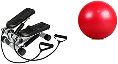 Stepper Twister Device for Body Muscles, with Hand Rope, Aerobic Exercise Ball, Fitness World, Red - 65 cm
