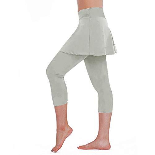 Yoga Leggings mit Rock Damen Hosenrock Sport Trainingshose 3/4 High Waist Strumpfhose Einfarbig Jogginghose Sommer Herbst Kanpola