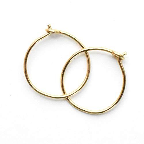 Little Gold Hoops, Small 10mm, Extra Thin 24 Gauge Earrings 14k Yellow Gold Fill Earrings Handmade Sleeper Hugger Hoop Earrings