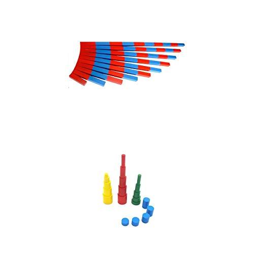 MagiDeal Hölzerne Vorschulkinder, Die Spielzeug Lernen Knobless Cylinders Numerical Number Rods