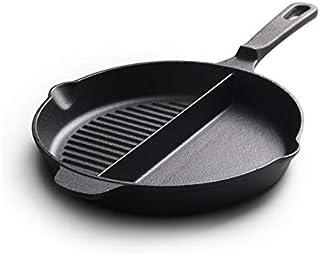 Grill Asador 25cm de hierro fundido sartén filete sartén de hierro fundido sin revestir Pan (Color : Black)