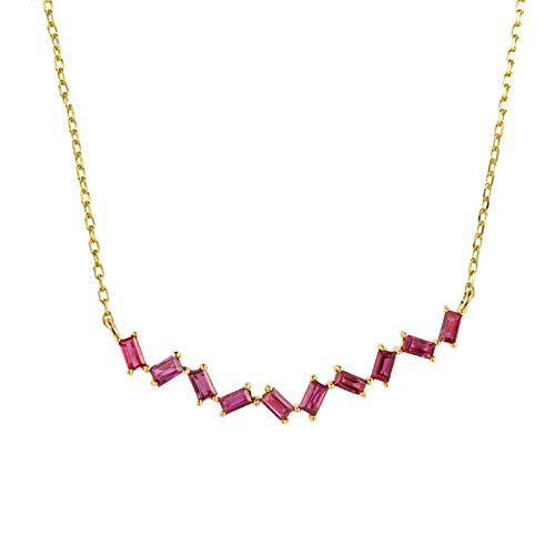 Aimsie Women's necklace, rectangle necklace, ladies gold 18 carat (750) yellow gold with ruby gold necklace, woman gold necklace, woman gold pink necklace with pendant