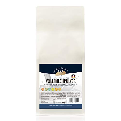 Vollmilchpulver aus Deutscher Herstellung, 26 % Fettgehalt, 27,3 % Protein - vollwertiges sprühgetrocknetes Pulver - sehr cremig- 1 kg - Instant full cream milk powder - Made in Germany