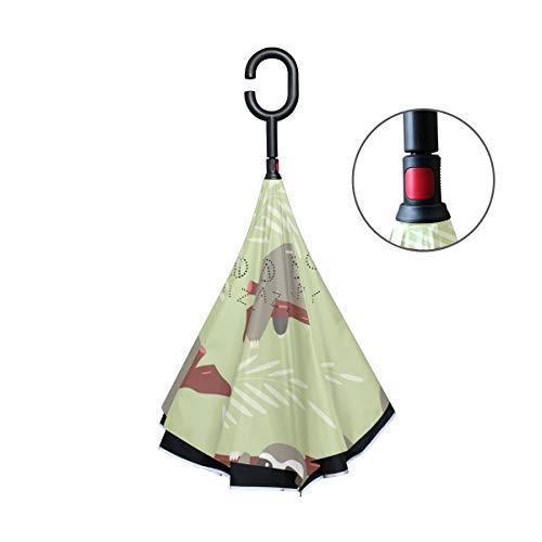 FANTAZIO Omgekeerde paraplu luiaarden patroon ontwerp dubbele laag UV-bescherming Omgekeerde paraplu Zelfstandige C vorm handvat binnenstebuiten vouwen/ontvouwen winddicht en waterafstotend