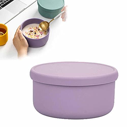 Forma Redonda Fiambrera Sellado Y a Prueba De Fugas Lunch Box Portátil Caja Bento Materiales De Seguridad Alimentaria Para Comida Fruta Snacks,Purple-700ml-1PCS