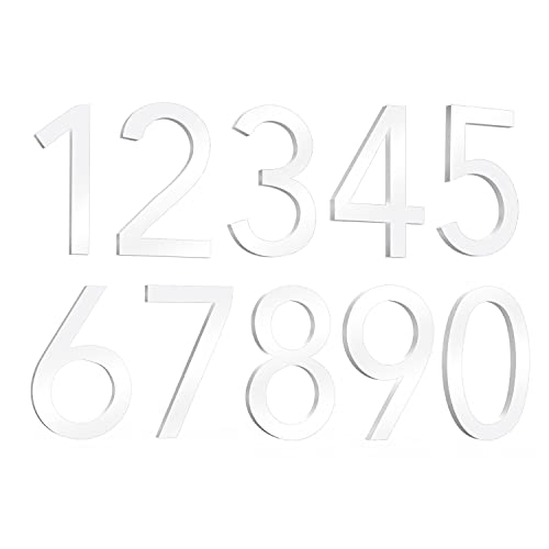 3 Inch Mailbox Numbers (0-9) House Numbers, Door Address Numbers Stickers, Self-Adhesive Number Sign, for Apartment, House, Room, Trucks, Office, Cars (1Classic, White)
