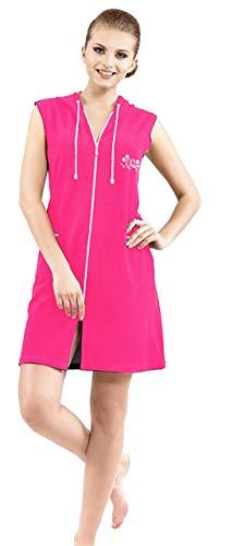 Brighton Robes Womens Turkish Terry Cotton Zipper Front with Hood Sleeveless Robe Dress Beach Dress (Large, Pink)